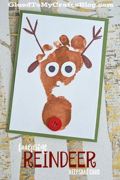 footprint reindeer keepsake card xmas crafts santa crafts christmas arts and crafts theme