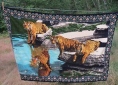 Vintage Tigers 1970s Tapestry Cloth Wall Hanging