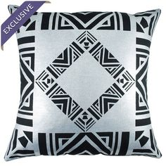 Handcrafted in the USA, this linen pillow showcases a bold Art Deco-inspired design in a black and silver palette.   Product: Pillow...