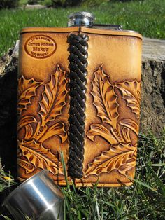 Hand Tooled Leather Horse Flask by JPsLeather on Etsy