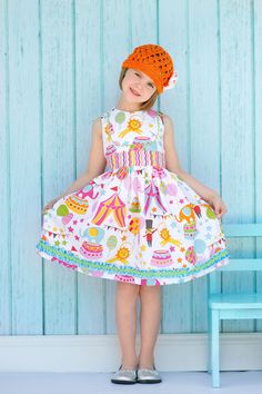 Girls Circus Dress with Sash 4/5 Ready to by tiedyedivadesigns, $39.99