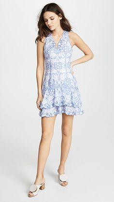 595b15096fc Jonathan Simkhai Scallop Cutout Embroidery V Neck Tired Mini Dress