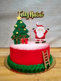 Christmas Cake Designs, Christmas Cake Topper, Christmas Cake Decorations, Holiday Cakes, Christmas Desserts, Cake Decorating Frosting, Cake Decorating Designs, Birhday Cake, Mery Chrismas