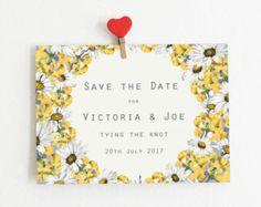 Yellow Daisy & Hydrangea Floral Save The Dates - Postcards, Custom Colours, Flower Wedding Invites, Floral Wedding, Pastel Yellow Save The Date Design