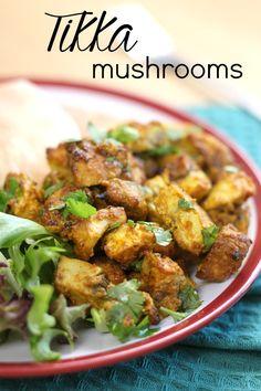 Tikka mushrooms - juicy roasted mushrooms in an easy tikka marinade.