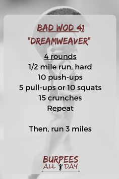 WOD – Dreamweaver Dreams are a wish your heart makes. Find more workouts at www. Spartan Race Training, Spartan Workout, Wod Workout, Workout Routine For Men, Gym Workouts, At Home Workouts, Marathon Training, Prison Workout, Crossfit At Home