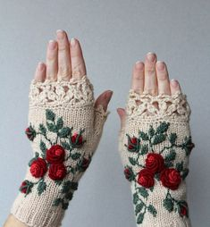 Hand Knitted Fingerless Gloves, Gloves & Mittens, Gift Ideas, For Her, Winter Accessories, Ivory, Red, Green, Flowers, Elegant, Roses,: