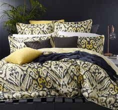 cottonSateenPrintedSelf-flange with white cord piping Decor, Home, Bed, Charcoal, Settings, Comforters, Color, White