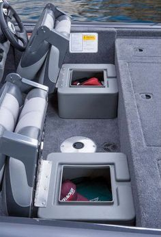 Tracker Pro Team 175 TF: Heavy-duty roto-molded bases for the helm and companion seating have molded-in rain channels which direct water to the cockpit sole to help keep stored contents dry. Aluminum Fishing Boats, Aluminum Boat, Bass Boat Seats, Mini Bass Boats, Boat Storage, Storage Boxes, Fishing Boat Accessories, Tiny Boat, John Boats