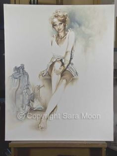 Original Sara Moon Artwork For Sale Moon Painting, Painting & Drawing, Canvas Size, Oil On Canvas, Moon Art, Original Artwork, Statue, Website, The Originals