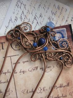 Copper Hair Comb - Metal Hair Fork - Wire Wrapped Hair Accessories - Barrette Stick - Blue Indigo - Victorian Vintage Inspires - Antique -. $45.00, via Etsy.