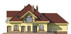 Dzierlatka III - elewacja ogrodowa Modern Bungalow House, Floor Plans, House Design, Cabin, Mansions, House Styles, Villas, Home Decor, Living Rooms