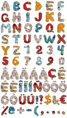 color shawls font alphabet