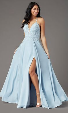 Shop designer long prom dresses at PromGirl. V-neck formal dresses and long chiffon dresses with embroidered-lace bodices, open backs, and faux-wrap skirts with slits. Simple Gowns, Simple Prom Dress, Open Back Prom Dresses, Plus Size Prom Dresses, Long Formal Gowns, Formal Dresses, Blue Dresses, Evening Dresses, Hot Dress