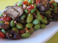 Vegan Edamame Mushroom Stir-Fry with and Sesame Seeds