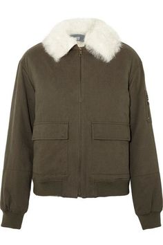 Yves Salomon - Shearling-trimmed Cotton-twill Bomber Jacket - Army green - FR3