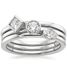 Bezel Diamond Ring Stack in 18K White Gold