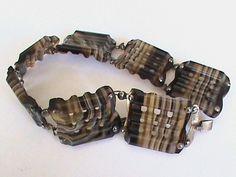 Antique Victorian silver banded agate bracelet - Scottish agates