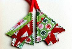 weihnachtsdeko ideen stoff basteln tannenbaum anhaenger