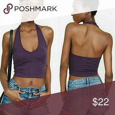 NWT dark purple deep v neck halter crop top Super soft and stretchy material makes this crop top easy to wear and crazy comfortable. Pair with shorts, slacks or a skirt: versatile and sexy. Don't miss out on this perfect summer top! Boutique  Tops Crop Tops