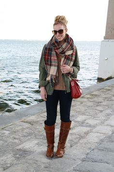 "Florida Farewell: oversized red and green plaid blanket scarf, olive field jacket, dark skinny jeans, tan Frye ""Shirley"" riding boots, red leather Coach crossbody bag"