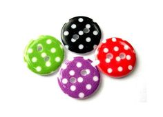40 Plastic buttons green red violet red with white by oritdotan