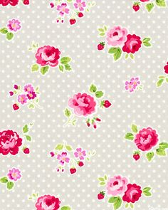 Fog City Kitty - Garden Floral & Dots - Dove Gray