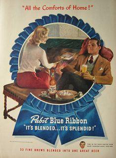 1947 Pabst Blue Ribbon Beer Ad ~