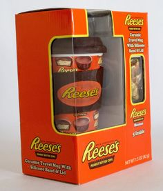 #buyitnow #ebay Reese's Peanut Butter Cup  Ceramic Travel Mug Silicone Band Lid 5 Mini Chocolate #reeses $14.99 free ship