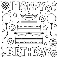 grandpa birthday coloring pages | Happy Birthday Sign ...
