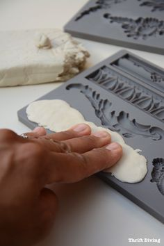 How to Add Vintage DIY Clay Mold Appliques on Furniture - Thrift Diving - Press clay into molds
