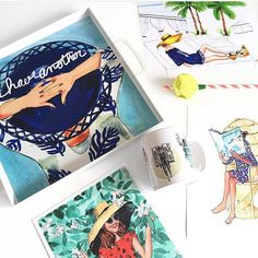 Tray: Have Another Sun Hat Palms by AThingCreated on Etsy