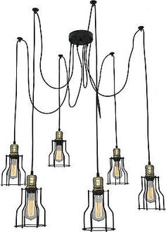 Vintage Retro Industrial Ceiling Spider Pendant 6 Edison Bulbs BAR Kitchen Light | eBay