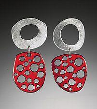 Mod Perforated Silver and Enamel Earrings by Beth Novak (Enameled Earrings)