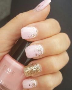 Nail style pink and gold glitters. My nails fashion