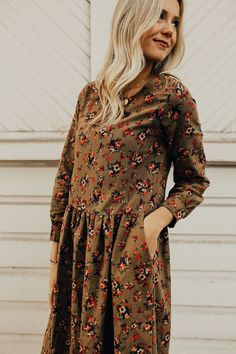 Floral Fall Dress with Pockets | ROOLEE