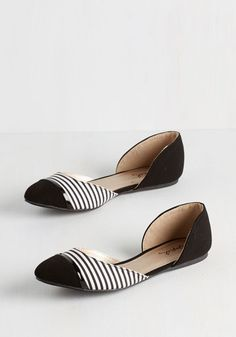 Whole Stride World Flat in Black - Flat, Faux Leather, Black, White, Stripes, Work, Casual, Good, Variation, Spring