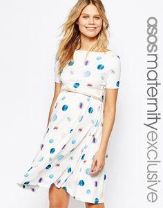 4de4270087b Image 1 of ASOS Maternity Skater Dress in Spot with Belt Asos Maternity