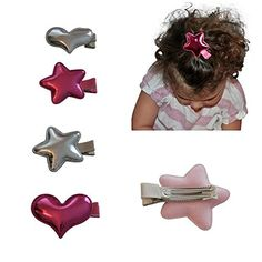 Premium Grosgrain Ribbon Wrapped Alligator Hair Clips for Girls Toddlers and Babies Fun Shapes and Colors Set of 4