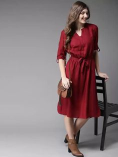 This Dress Is Verry Beautiful And Good Quality. #dress #maroon Western Dresses, Western Wear, Saree Dress, Dresses Online, Casual Dresses, Shirt Dress, Kurti, Womens Fashion, How To Wear