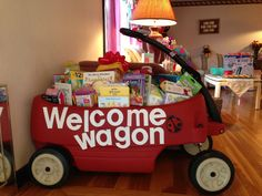 Welcom Wagon baby shower gift - I used vinyl letters so they can be easily removed