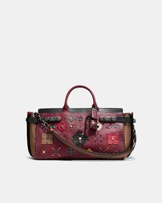 COACH: Coach Double Swagger 43 With Patchwork Prairie Rivets and Snakeskin Detail