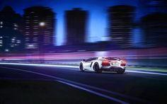 Télécharger fonds d'écran Lamborghini Aventador, la nuit, en 2017, les voitures, le flou de mouvement, supercars, blanc, Aventador, Lamborghini