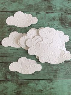 25 Cloud die cuts. Each cloud is embossed so it has a raised texture to it, this really adds a unique touch to your projects. Each measures