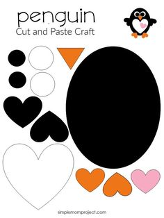 Free Printable Simple Heart Penguin Art Project