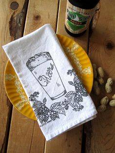 Screen Printed Organic Cotton Cloth Napkins - Eco Friendly Dinner Napkins - Craft Brew Illustration
