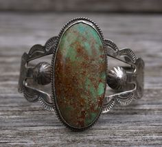 Huge Old Pawn Fred Harvey era Navajo Sterling Silver Turquoise Cuff Bracelet