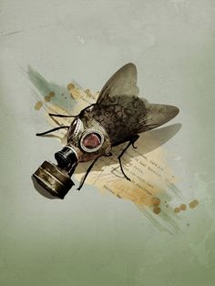 Antonio Rodrigues Jr: Graphic Design, Illustration, and then some. Gas Mask Art, Masks Art, Gas Masks, Collages, Collage Artwork, Insect Art, Pop Surrealism, Illustrations And Posters, Digital Illustration