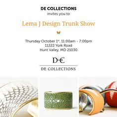 Live in the #Baltimore area? Come to our #trunk show at @D_E_Collections this #thursday from 11a-7p! #cuffsforacause
