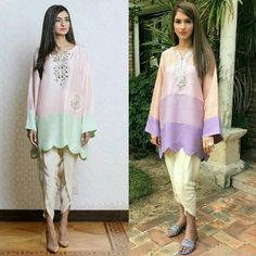 Pretty in Pink, Shades of Lilac Beautiful Color Block Silk Kurtas by Pakistani Wedding Outfits, Pakistani Dresses, Indian Dresses, Indian Outfits, Stylish Dresses, Casual Dresses, Fashion Dresses, Casual Wear, Indian Designer Wear